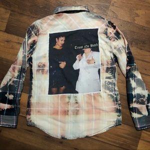 Handmade Selena Bleached Button Down Galaxy Shirt